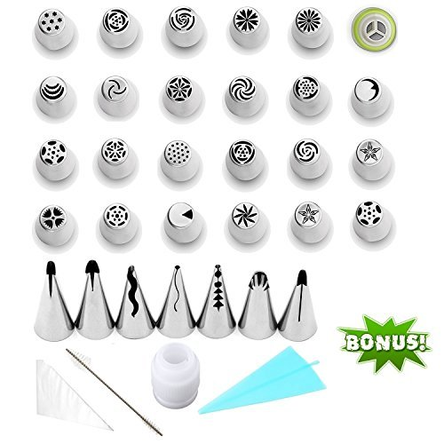 Cake Decorating Tips Non Toxic Icing Tip Set Tools With 30 Piping Nozzles Coupler Of 7 Baking Supplies 15 Pastry Disposable Bags