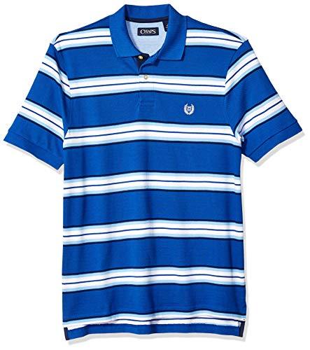 (Chaps Men's Classic Fit Striped Cotton Mesh Polo Shirt, Sapphire Multi, L)