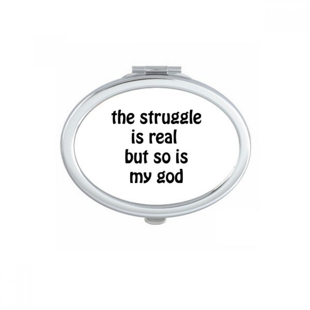DIYthinker The Struggle Is Real Christian Quotes Oval Compact Makeup Mirror Portable Cute Hand Pocket Mirrors Gift