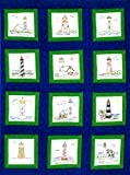 Themed Stamped White Quilt Blocks 9'X9' 12/Pkg-Lighthouses