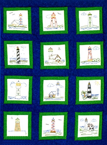 Cross Stitch Lighthouses - Themed Stamped White Quilt Blocks 9