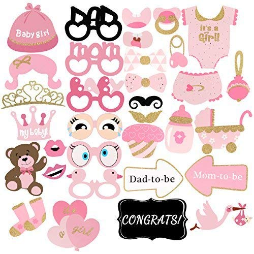 Unomor 33Pcs Pink and Gold Girls Baby Shower Photo Booth Props for Baby Shower -