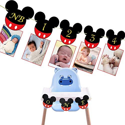 Mickey Mouse Baby Photo Banner, First Year Monthly Photo Mickey Mouse Banner for Baby 1ST Birthday Party Decorations (Mickey Mouse Banner)]()