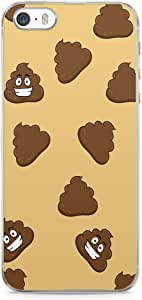 iPhone SE Transparent Edge Phone case Poop Emoji Phone Case Trendy College iPhone SE Cover with Transparent Frame