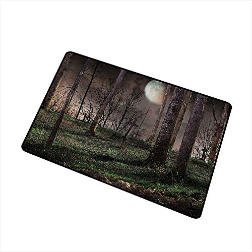 Axbkl Welcome Door mat Gothic Decor Collection Dark Night in The Forest with Full Moon Horror Theme Grunge Style Halloween Photo W31 xL47 Indoor Outdoor, Waterproof, Easy Clean Brown Green Yellow]()