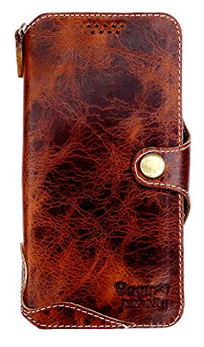 Yogurt for Samsung Galaxy S8 Plus+ (6.2 Inch) Genuine Leather Wallet Cases Cover Handmade Dark Brown