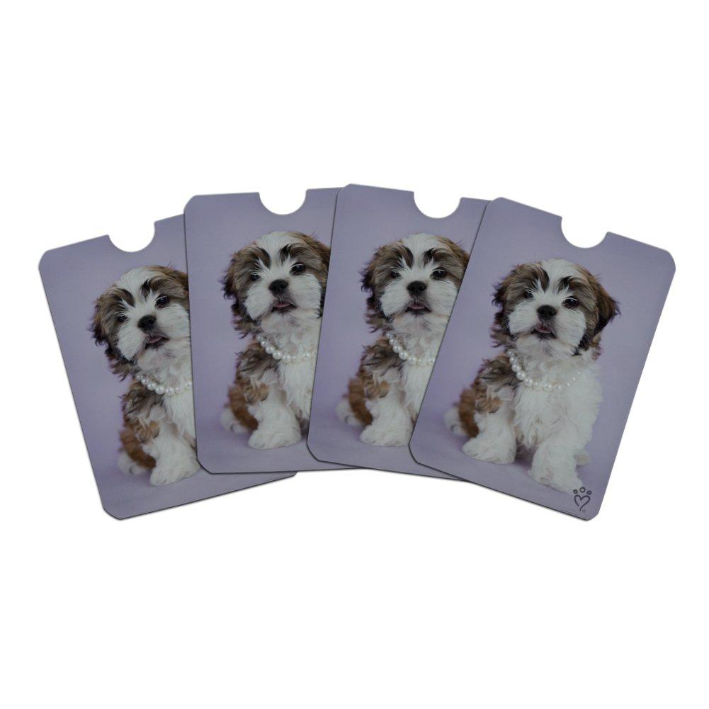 Shih Tzu Dog In Pearls Lavender Credit Card RFID Blocker Holder Protector Wallet Purse Sleeves Set of 4