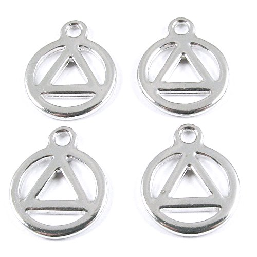 (TierraCast Pewter Triangle in Circle Charms-SILVER RECOVERY SYMBOL (4))