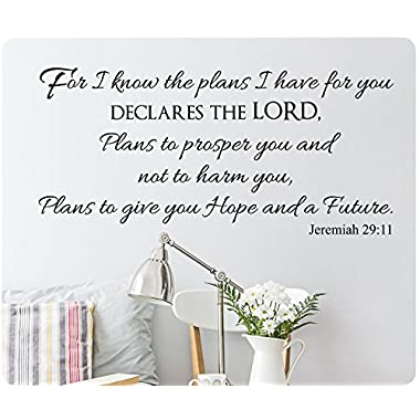 48  For I Know The Plans I Have For You Declares The Lord, Plans to Prosper You and Not To Harm You, Plans To Give You Hope And A Future Jeremiah 29:11 Wall Decal Sticker Art Mural Home Décor Quote Lettering Christian Verse Bible Scripture
