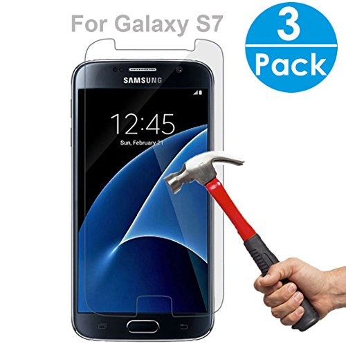 3Pack SEGMOI Tempered Glass Screen Protector 9H Hardness HD Clear Film with Retail Gift package (For SAMSUNG Galaxy S7)