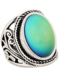 Handmade Unique Pattern Antique Sterling Silver Plating Oval Stone Color Change Mood Ring MJ-RS019 (8)