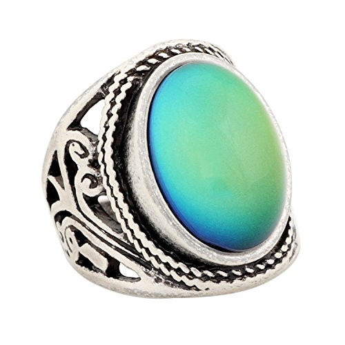 MOJO JEWELRY Handmade Unique Pattern Antique Sterling Silver Plating Oval Stone Color Change Mood Ring MJRS019 7