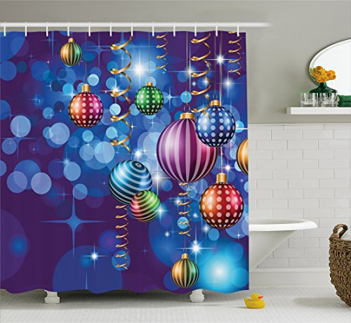 Christmas Shower Curtain by Ambesonne, Happy New Year Party Celebrations with Swirling Ornaments and Balls Festive Print, Fabric Bathroom Decor Set with Hooks, 70 Inches, Blue - Year Ornaments Happy New