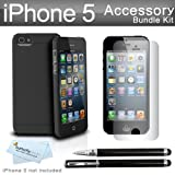 New iPhone 5 Slim Fit Case Kit Includes Photive Natural Slim Fit Rubberized Finish Case for Apple iPhone 5 + 3 Pack Ultra Clear Film Screen protectors + Ultra-Sensitive 2 in 1 Capacitive Stylus with Integrated Ballpoint Pen + More ( Perfect Fit !!)