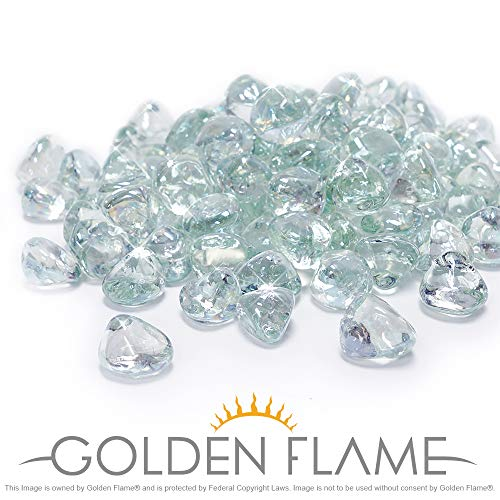 Golden Flame 10-Pound Fire Glass 1-Inch Crystal Ice Reflective Fire-Diamonds