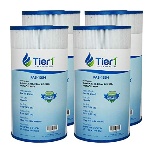 Tier1 817-0014 R173584, Leisure Bay, Dynasty Spas, Waterway, Pleatco PLBS60, Filbur FC-2970, Unicel C-5345 Comparable Replacement Filter Cartridge (4-Pack) ()