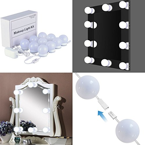 Novolido Hollywood Style LED Vanity Mirror Lights Kit with 10 Dimmable Light Bulbs Lighting Fixture Strip for Makeup Vanity Table Set Dressing Table (New (New Style Light)