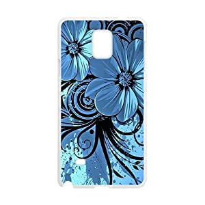 Blue Elegent Flower White Phone Ipod Touch 5