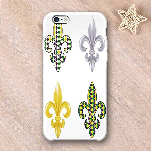 Mardi Gras Custom Compatible with iPhone Case,Fleur De Lis Motifs with Mardi Gras Pattern Traditional Lily Flowers Collection Compatible with iPhone 6/6s,iPhone 6/6s