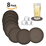 Silicone Drink Coasters Set of 8-Deep Tray,Large 4.3 inches Size Protect Table Desk From Drinks, Beverage,Water or Alcohol Like Whiskey, Beer, Wine,Tropical Cocktails by Kindga (Brown-Heart)
