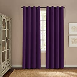 "H.VERSAILTEX Ultra Soft Smooth Innovated Microfiber Thermal Insulated Blackout Window Curtains Bedroom/Living Room - 52"" W 84"" L-Solid in Plum Purple (One Panel)"