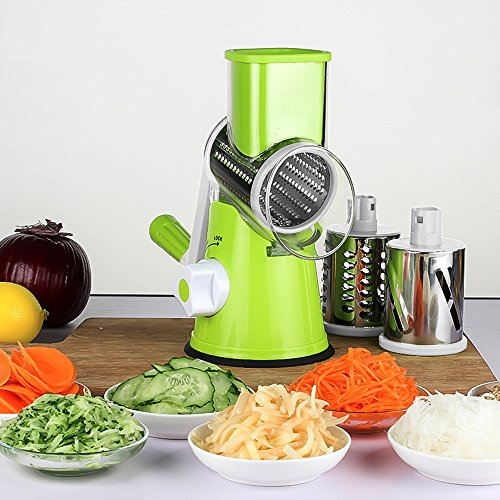 Ogori Vegetable Mandoline Chopper, 3-Blades Manual Vegetable Slicer,Efficient and Fast Vegetable Fruit Cutter Cheese Shredder, Speedy Rotary Drum Grater Slicer with Strong-Hold Suction Cup(Green) Green Vegetable Cutter