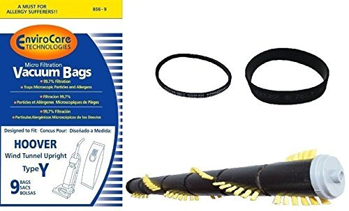 Hoover Windtunnel COMPLETE Service Kit : Hoover WindTunnel Upright Type Y Bags- 9 Pack PLUS 15 inch Roller Brush and Self Propelled Belt Kit