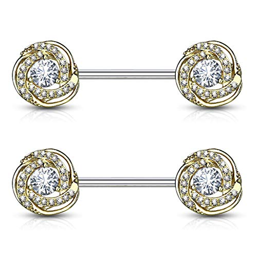 Forbidden Body Jewelry Ultra Glam CZ Swirl Halo Frame Surgical Steel Nipple Barbells (14k Gold Plated)