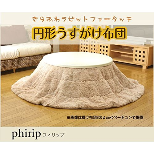 フィラメント素材 こたつ薄掛け布団単品 『フィリップ円形』 アイボリー 径200cm   B01M4KNGNI