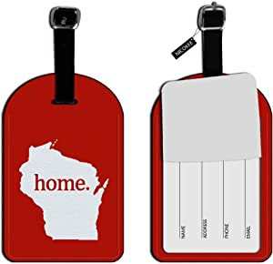 Nicokee WI Home State Luggage Suitcase ID Tags Textured Red Leather Travel Bag Lables Travel Accessories Baggage Name Tags