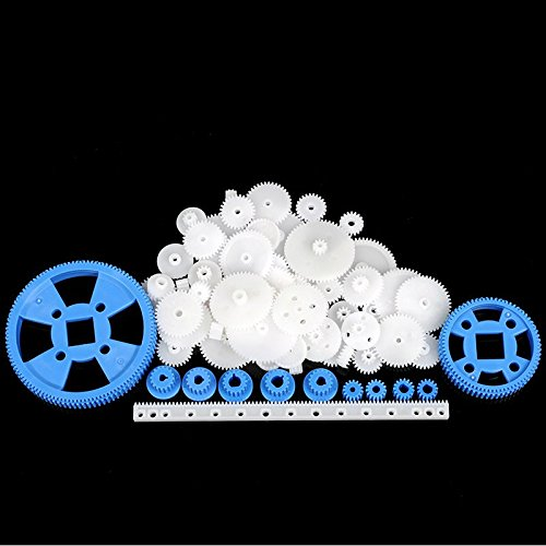 Rack Gear Kit Gearbox Motor Gear Set for DIY Car Robot 69 Pcs Plastic RC Parts Lot Pulley Plastic Gears Belt
