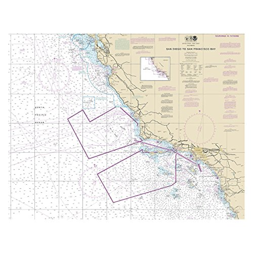 San Diego to San Francisco Bay, California Nautical Chart Unframed Vinyl Art Print - Perfect for indoors / outdoors. All-weather. (Unframed Vinyl)