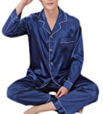 Fulok Men's Warm Solid Stain Long Sleeve Sleep Lounge Pajama Set Jewelry Blue S