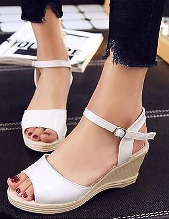 ShangYi Women's Shoes Leatherette Chunky Heel Platform / Open Toe Sandals Office & Career / Dress / Casual Black / Pink / White , pink-us7.5 / eu38 / uk5.5 / cn38 , pink-us7.5 / eu38 / uk5.5 / cn38