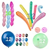Party Bundle Latex Balloon Favors- 46 Piece Set Helium Quality - Super Bumpies - Rocket - Punching - Indoors or Outdoors Events