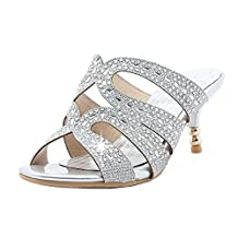 KemeKiss Women Fashion Rhinestone Kitten Heel Slide Sandals Sexy Shoes