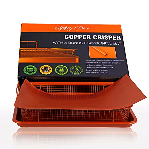 Copper Crisper - Multi-Purpose Crisper Basket and Tray for Oven, Stovetop, Grill | Non-Stick Baking Tray and Basket - Perfect Air Fryer and Griddle, Great for Frozen Foods  Copper Colour By Spicy Dew