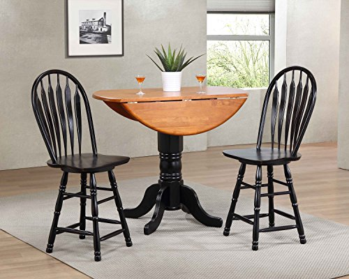 Sunset Trading DLU-TPD4242CB-B24-AB3PC Black Cherry Selections Pub Table Set, Small, One Size, Distressed Antique Rub Through ()