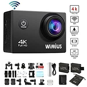 WIMIUS 4K Sports Action Camera Wifi 16MP Ultra HD Waterproof Video Camera 2.0'' 170° Wide Angle Include Waterproof Case,2pcs Batteries and Full Accessories Kits (Q1-Black)