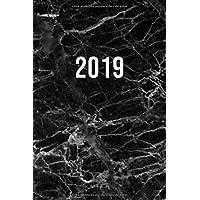 2019: ENE - DIC Agenda Semanal | 152 x 229 mm | 1 Semana en 2 Páginas | 52 Semanas Planificador y Calendario | Mármol Negro