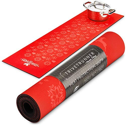 Christmas Trivetrunner :Decorative Trivet and Kitchen Table Runners Handles Heat Up to 300F, Anti Slip, Hand Washable,Safe for Hot Dishes,Hand Washable (Red Christmas)