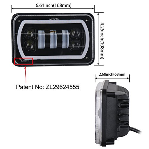 ZJUSDO-4×6-Led-Headlights-with-White-RGB-Halo-Music-Mode-Seal-Beam-Replace-H4651-H4656-H4666-Rectangular-Led-Headlight-for-Truck-Peterbilt-Kenworth-Ford-Chevrolet-Oldsmobile