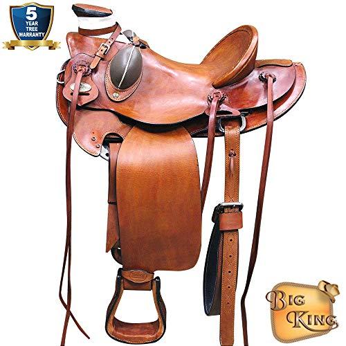 15'' HILASON BIG KING WESTERN WADE RANCH ROPING COWBOY HORSE SADDLE TAN KOTE