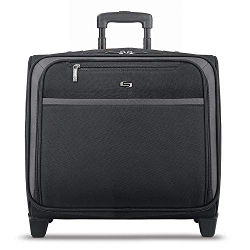 Solo New York Dakota Rolling Overnight Laptop Bag.  Business Travel Rolling Overnighter Case for Women and Men. Fits up to 16 inch laptop - Black