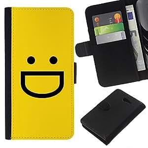 WINCASE Cuadro Funda Voltear Cuero Ranura Tarjetas TPU Carcasas Protectora Cover Case Para Sony Xperia M2 - amarilla emoji emoticono