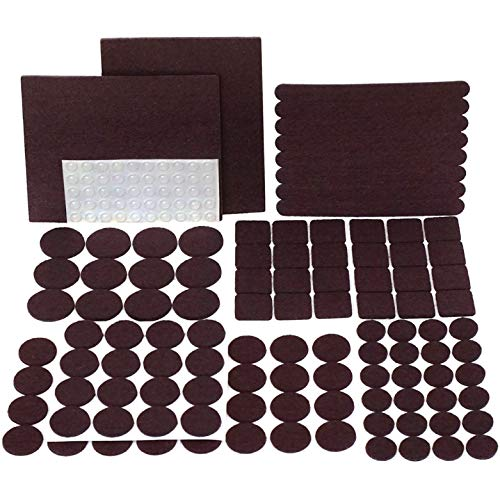 PREMIUM Furniture Pads Set 168 Pcs Value Pack Brown - Heavy Duty Adhesive Felt Pads for Furniture Feet, Assorted Sizes with Noise Dampening Rubber Bumpers. Floor Protectors for Hardwood & Laminate - Laminated Rectangular Tabletop