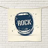smallbeefly Rock Music Hand Towel Screaming Mouth Musical Elements Flying Notes Rock Music Abstract Pattern Quick-Dry Towels Beige Violet Blue Size: W 20'' x L 33''