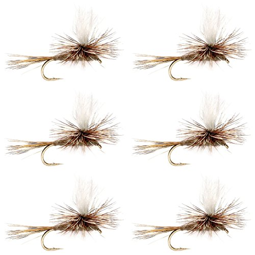 Parachute Flies Trout (The Fly Fishing Place Calf Tail Parachute Adams Classic Trout Dry Fly Fishing Flies - Set of 6 Flies Size 18)