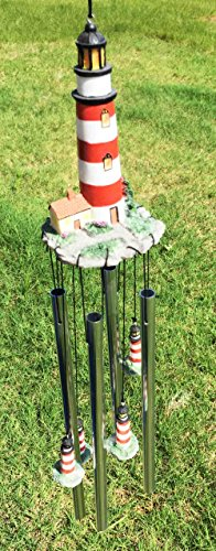 Assateague Islands Lighthouse Nautical Beacon Resonant Relaxing Wind Chime Patio Garden Decor (Lighthouse Chime)