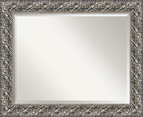 Amanti Art Vanity Bathroom Wall | Silver Luxor Frame | Solid Wood Mirror |, Glass Size: 22 x 28,